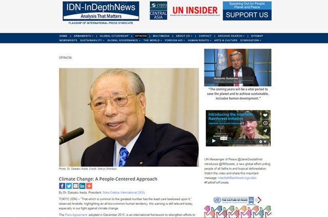 IDN opinion editorial on climate change