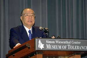 Addressing the Simon Wiesenthal Center (Los Angeles, California, 1996)
