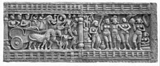 Relief of King Ashoka's pilgrimage to Buddagaya, where Shakyamuni attained enlightenment